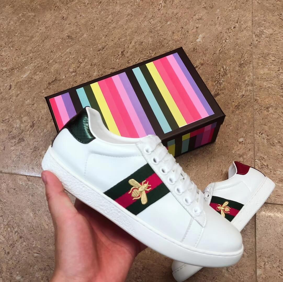 GUCCI MENS WOMENS SHOES WHITE LEATHER SPORTS TRAINERS BEES TIGER....